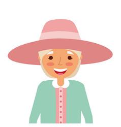 old woman portrait lady grandma cartoon vector image