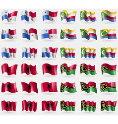 Panama Comoros Albania Vanuatu Set of 36 flags of vector
