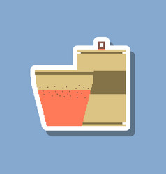 Paper sticker on stylish background can of soda vector