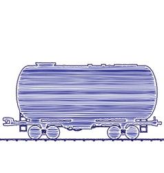 petroleum cistern wagon freight railroad train han vector image