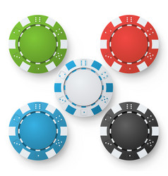 poker chips set classic colored poker vector image