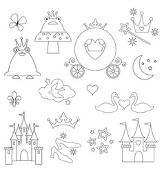 princess digital stamps vector image