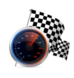 Racing Speedometer and checkered flag vector
