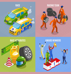 Racing sports concept icons set vector