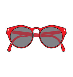 Red frame glasses vector