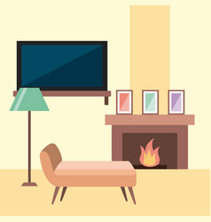Rest room chair tv lamp frame and chimney flame vector