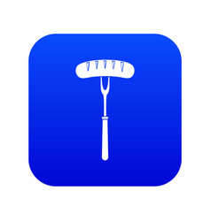 sausage on bbq fork icon digital blue vector image