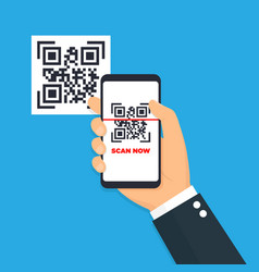 Scan qr code flat icon with phone barcode vector
