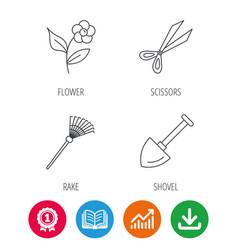 scissors flower and shovel icons vector image