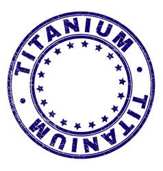 Scratched textured titanium round stamp seal vector
