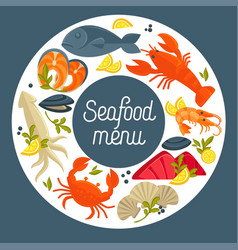 Seafood restaurant menu design template for vector