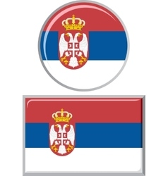 Serbian round and square icon flag vector