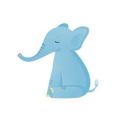 sitting cute baby elephant light blue lovely vector image