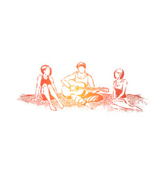sitting on beach with friends young man playing vector image