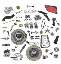 Spare parts car on the white background set vector