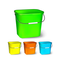 square plastic bucket bucketful different vector image