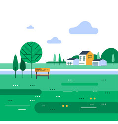 summer time in suburb small bench and tree vector image