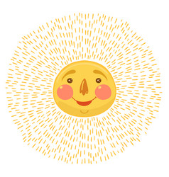 sun with face isolated on a white background vector image