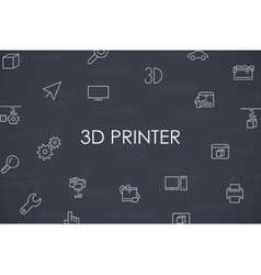 Three D Printer Thin Line Icons vector