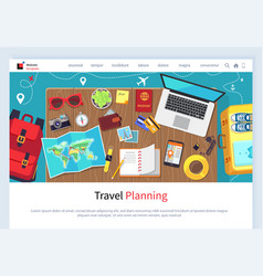 Time to travel preparation for vacation website vector