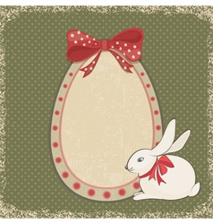 Vintage card with easter bunny and egg form vector image