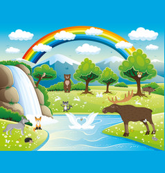 waterfall and cute animals vector image