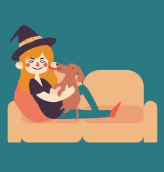 Witch Holding Dog on Sofa vector