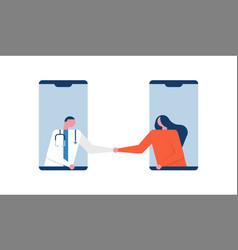 woman in doctor checkup visit online phone app vector image