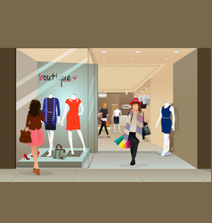 Woman shopping in a mall vector