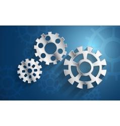 blue background set metal gear mechanism vector image