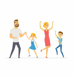 happy family dancing - modern cartoon people vector image vector image