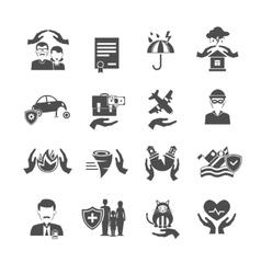 Insurance Icons Black Set vector image