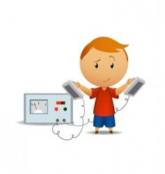 smiling boy with medical defibrillator vector image