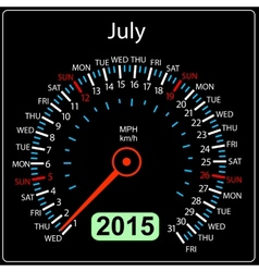 2015 year calendar speedometer car in July vector image vector image