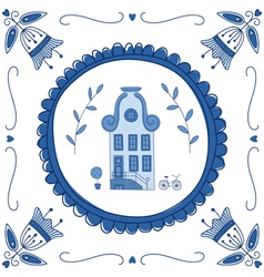 Delft Blue house vector image vector image