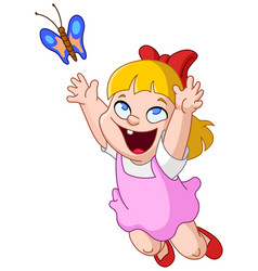 girl chasing butterfly vector image vector image