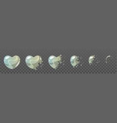 heart shape bubble burst sprites vector image vector image