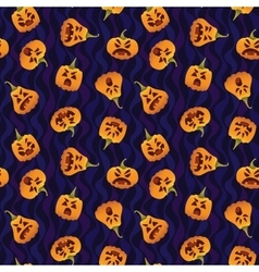 Pattern with Funny Smiling Halloween Pumpkins vector image vector image
