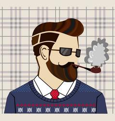hand drawn hipster man concept vector image vector image