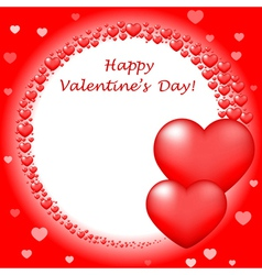 Happy Valentins Day card with red hearts vector image vector image