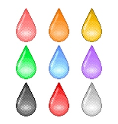 Pixel colorful drops icons set vector image vector image