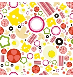 pizza ingredients seamless pattern vector image vector image