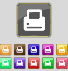 Printing icon sign Set with eleven colored buttons vector image