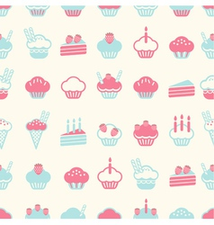 seamless cake pattern soft vintage color style vector image vector image