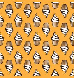 white cream cupcake seamless yellow pattern vector image