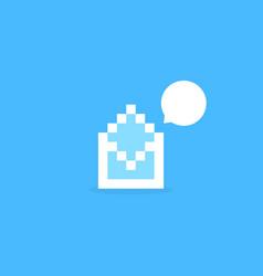 white pixel art letter like notification vector image vector image
