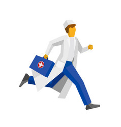 doctor in white coat running with first aid box vector image vector image