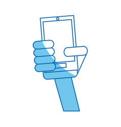 hand holding smartphone communication blue line vector image vector image