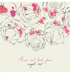 roses and hearts frame vector image vector image
