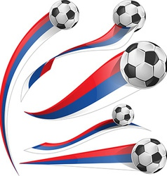 russian flag set with soccer ball vector image vector image